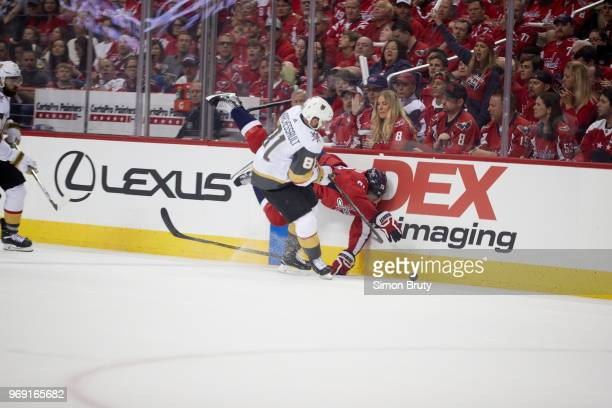 NHL Finals Vegas Golden Knights Jonathan Marchessault in action vs Washington Capitals Devante SmithPelly at Capital One Arena Game 3 Washington DC...