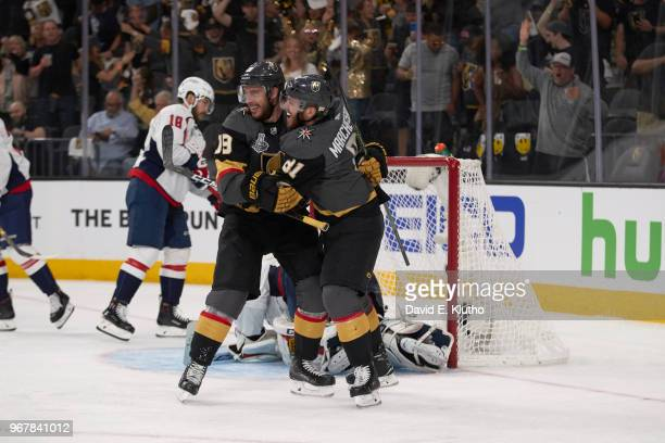 NHL Finals Vegas Golden Knights Reilly Smith and Jonathan Marchessault victorious during game vs Washington Capitals at TMobile Arena Game 1 Las...
