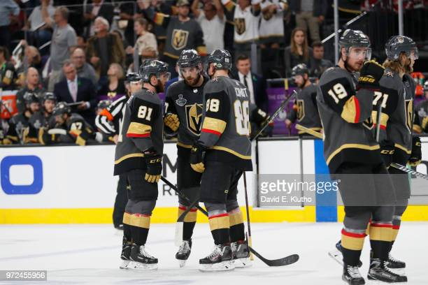 NHL Finals Vegas Golden Knights Shea Theodore with Jonathan Marchessault and Nate Schmidt during game vs Washington Capitals at TMobile Arena Game 5...