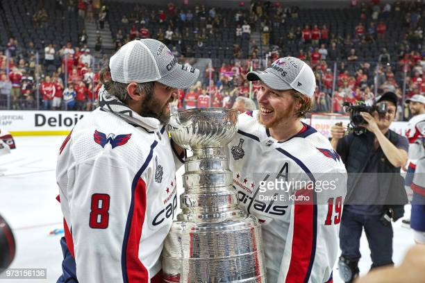 NHL Finals Washington Capitals Alex Ovechkin and Nicklas Backstrom victorious with Stanley Cup trophy after winning Game 5 and championship series vs...