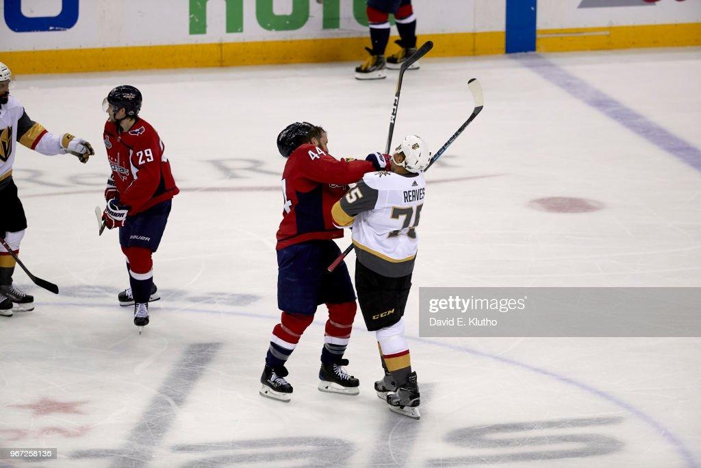Washington Capitals Brooks Orpik (44) during confrontation with Vegas  Golden Knights Ryam Reaves ( 467137241