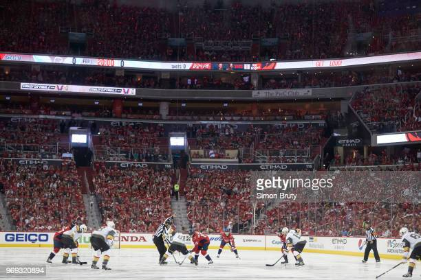 NHL Finals Washington Capitals Nicklas Backstrom in action faceoff vs Vegas Golden Knights Jonathan Marchessault at Capital One Arena Game 3...