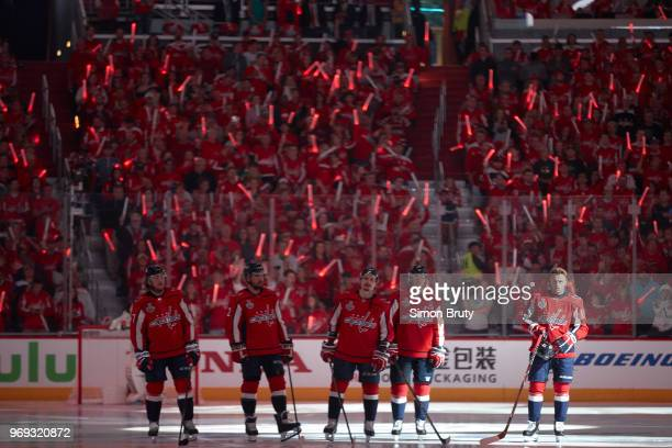 NHL Finals Washington Capitals starters TJ Oshie Matt Niskanen Dmitry Orlov Nicklas Backstrom and Jakub Vrana on ice during anthem before game vs...