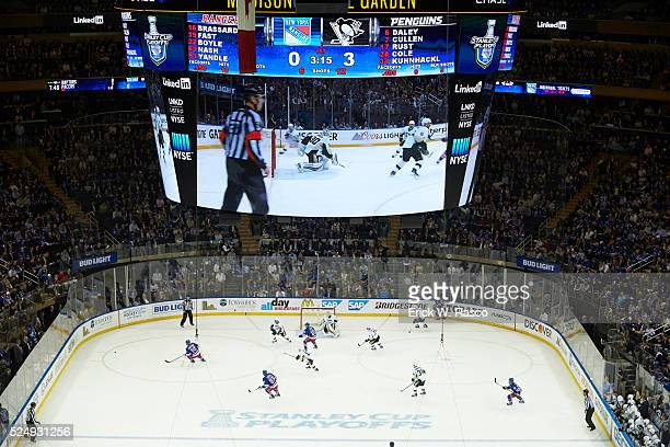 NHL Playoffs Aerial view of New York Rangers in action vs Pittsburgh Penguins at Madison Square Garden Game 4 New York NY CREDIT Erick W Rasco