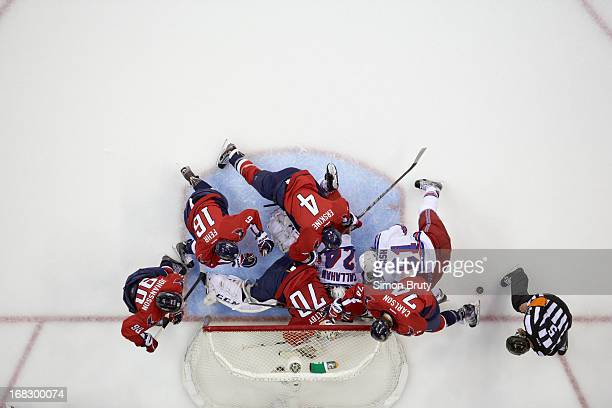 NHL Playoffs Aerial view of New York Rangers Ryan Callahan and Rick Nash in action scrum vs Washington Capitals goalie Braden Holtby John Erskine...