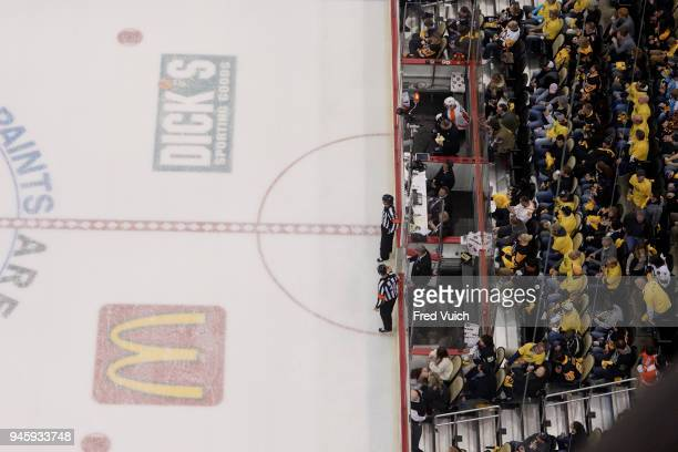 NHL Playoffs Aerial view of Philadelphia Flyers Michael Raffl in penalty box during game vs Pittsburgh Penguins at PPG Paints Arena Game 1 Pittsburgh...