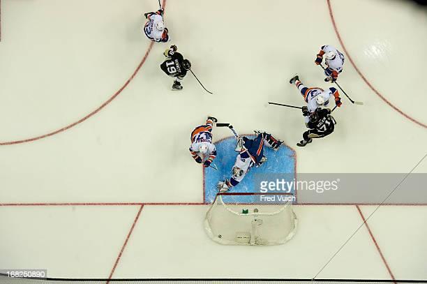 NHL Playoffs Aerial view of Pittsburgh Penguins Evgeni Malkin in action scoring goal vs New York Islanders goalie Evgeni Nabokov at Consol Energy...
