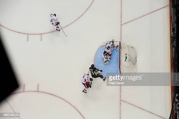 NHL Playoffs Aerial view of Pittsburgh Penguins Evgeni Malkin in action scoring goal vs Ottawa Senators goalie Craig Anderson at CONSOL Energy Center...
