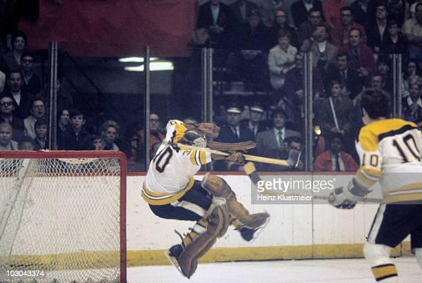 Boston Bruins goalie Gerry Cheevers in action, making save vs Chicago Blackhawks. Game 2. Chicago, IL 4/21/1970 CREDIT: Heinz Kluetmeier