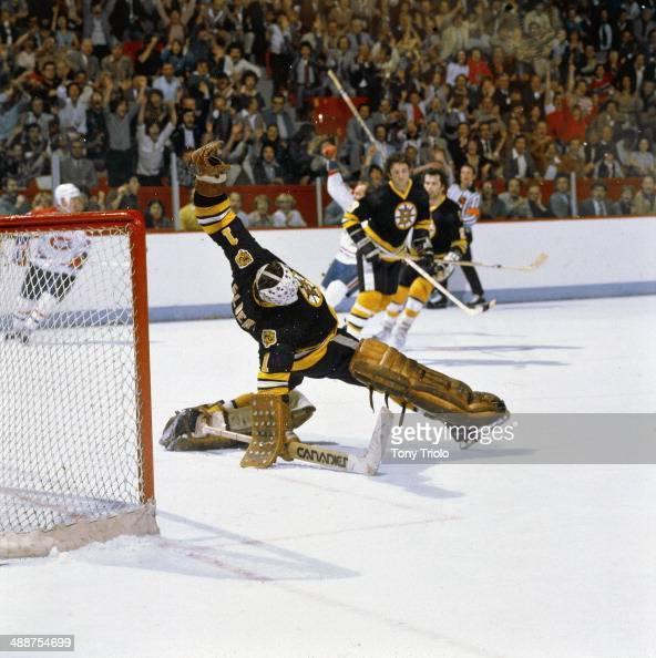 Boston Bruins Goalie Gilles Gilbert In Action, Yielding