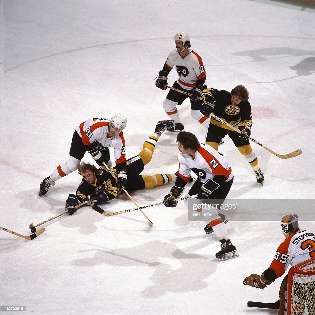 Boston Bruins Rick Middleton In Action, Taking Shot From