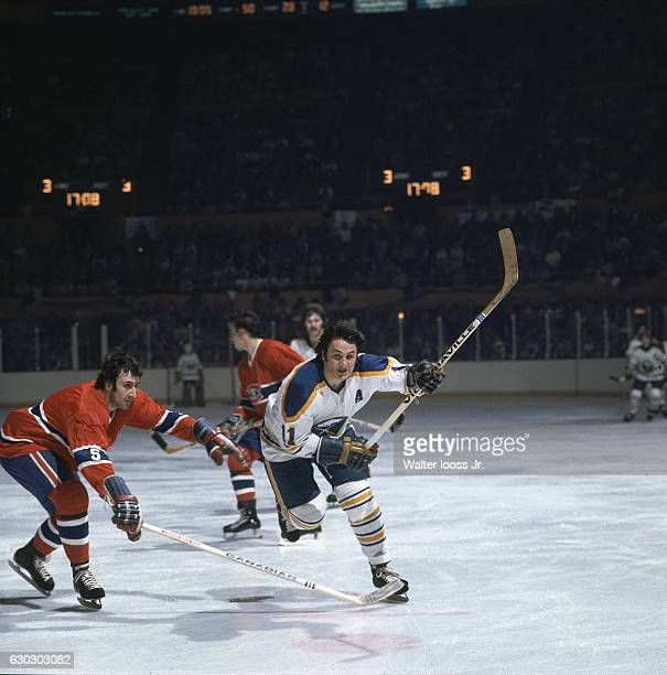 NHL Playoffs Buffalo Sabres Gilbert Perreault in action vs Montreal Canadiens Guy Lapointe at Buffalo Memorial Auditorium Game 5 Buffalo NY CREDIT...