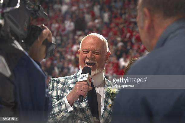 NHL Playoffs CBC Sports media announcer Don Cherry during Game 3 of Carolina Hurricanes vs Pittsburgh Penguins series Raleigh NC 5/23/2009 CREDIT Lou...