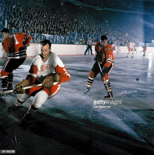 NHL Playoffs Detroit Red Wings Gordie Howe in action vs Chicago Blackhawks Al MacNeil Chicago IL 4/7/1966 CREDIT Lee Balterman
