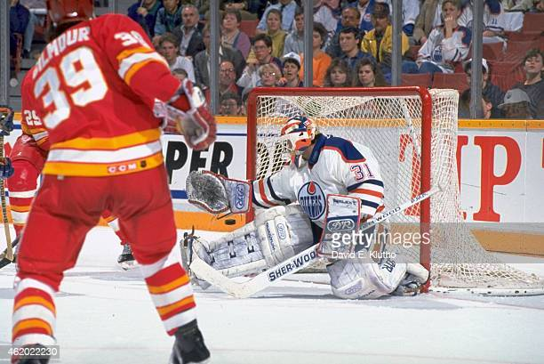 NHL Playoffs Edmonton Oilers goalie Grant Fuhr in action vs Calgary Flames at Northlands Coliseum Game 3 Edmonton Canada 4/8/1991 CREDIT David E...