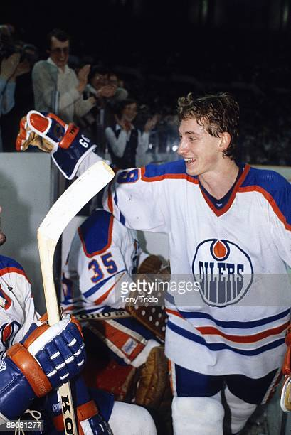 NHL Playoffs Edmonton Oilers Wayne Gretzky victorious with teammates after winning Game 3 and series vs Montreal Canadiens Edmonton Canada 4/11/1981...