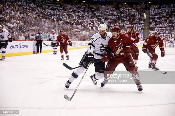 NHL Playoffs Los Angeles Kings Dustin Penner in action vs Phoenix Coyotes Shane Doan at Jobingcom Arena Game 2 Glendale AZ CREDIT David E Klutho