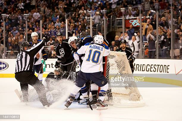 NHL Playoffs Los Angeles Kings goalie Jonathan Quick and Slava Voynov in action vs St Louis Blues David Perron and Andy McDonald at Staples Center...