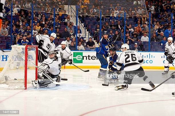 NHL Playoffs Los Angeles Kings goalie Jonathan Quick in action yielding goal vs St Louis Blues Andy McDonald at Scottrade Center Game 2 St Louis MO...