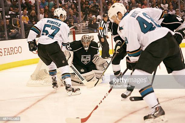 NHL Playoffs Los Angeles Kings goalie Jonathan Quick in action vs San Jose Sharks Tomas Hertl at Staples Center Game 4 Los Angeles CA CREDIT Robert...