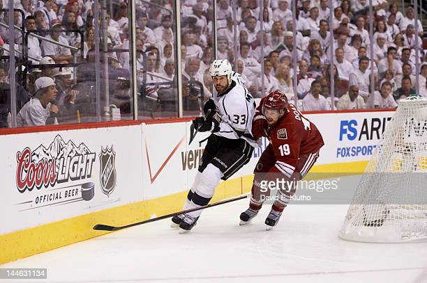 NHL Playoffs Los Angeles Kings Willie Mitchell in action vs Phoenix Coyotes Shane Doan at Jobingcom Arena Game 1 Glendale AZ CREDIT David E Klutho