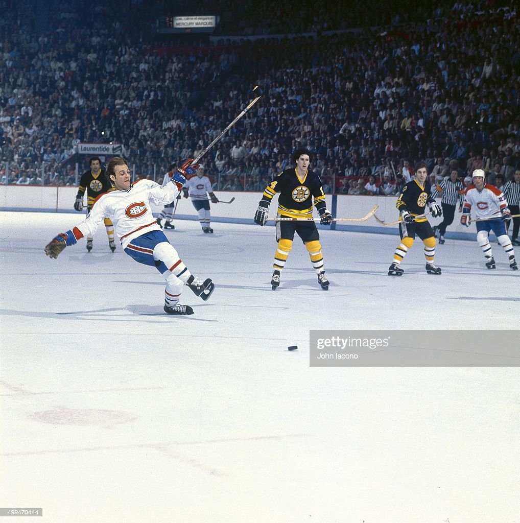 Montreal Canadiens Guy Lafleur In Action Vs Boston Bruins