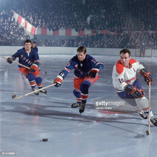 Hockey NHL Playoffs Montreal Canadiens Henri The Pocket Rocket Richard in action vs New York Rangers Jean Ratelle New York NY 4/11/1967