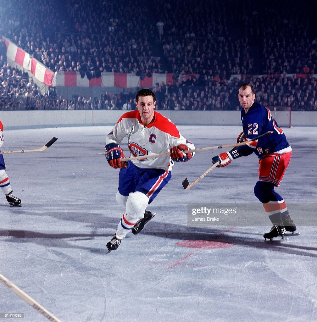 NHL Playoffs, Montreal Canadiens Jean Beliveau #4 as Don Marshall of the New York Rangers defends, New York, NY 4/11/1967