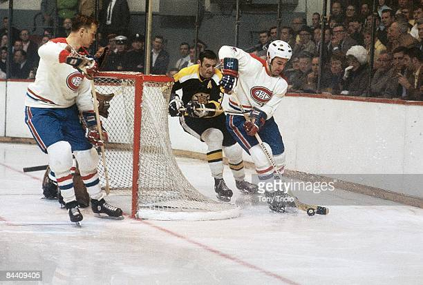 NHL Playoffs Montreal Canadiens JeanClaude Tremblay in action vs Boston Bruins Phil Esposito Boston MA 4/17/1969 CREDIT Tony Triolo