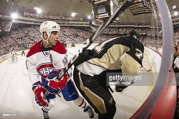 NHL Playoffs Montreal Canadiens Scott Gomez in action vs Pittsburgh Penguins Evgeni Malkin Game 2 Pittsburgh PA 5/2/2010 CREDIT David E Klutho
