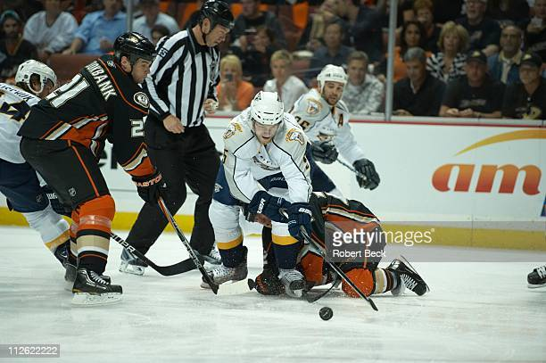 NHL Playoffs Nashville Predators Blake Geoffrion in action face off vs Anaheim Ducks Todd Marchant at Honda Center Game 2Anaheim CA 4/15/2011CREDIT...