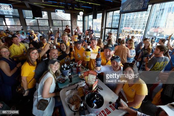 NHL Playoffs Nashville Predators fans at bar during game vs Anaheim Ducks Game 4 Nashville TN CREDIT David E Klutho