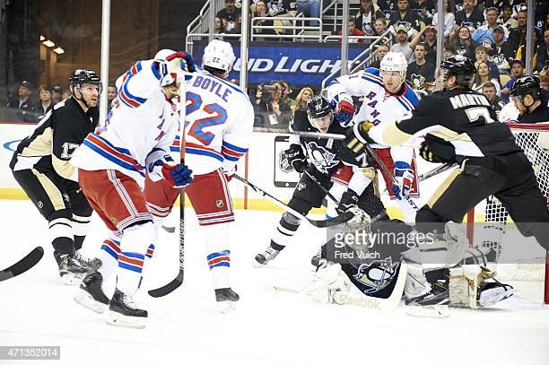 NHL Playoffs New York Rangers Rick Nash in action vs Evgeni Malkin and goalie Marc AndreFleury at Consol Energy Center Game 3 Pittsburgh PA CREDIT...