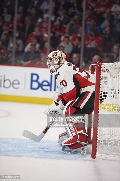 NHL Playoffs Ottawa Senators goalie Andrew Hammond in action vs Montreal Canadiens at Bell Centre Game 2 Montreal Canada 4/17/2015 CREDIT Charles...