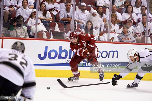 NHL Playoffs Phoenix Coyotes Shane Doan in action shooting vs Los Angeles Kings at Jobingcom Arena Game 2 Glendale AZ CREDIT David E Klutho