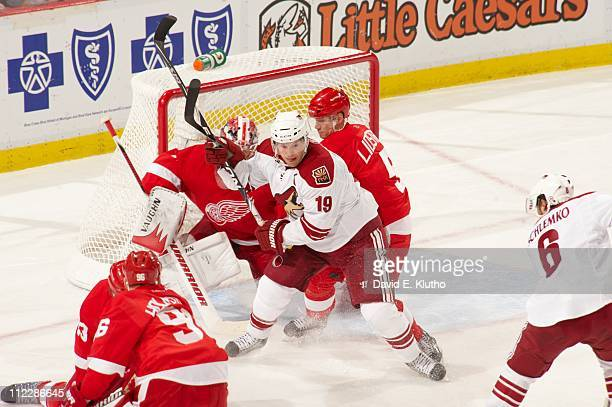 NHL Playoffs Phoenix Coyotes Shane Doan in action vs Detroit Red Wings Nicklas Lidstrom at Joe Louis Arena Game 1Detroit MI 4/13/2011CREDIT David E...