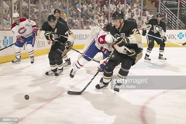 NHL Playoffs Pittsburgh Penguins Alexei Ponikarovsky and Evgeni Malkin in action vs Montreal Canadiens Game 2 Pittsburgh PA 5/2/2010 CREDIT David E...