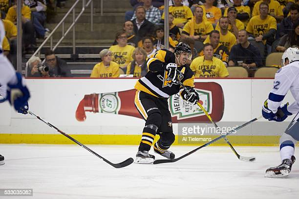 NHL Playoffs Pittsburgh Penguins Evgeni Malkin in action passing vs Tampa Bay Lightning at Consol Energy Center Game 1 Pittsburgh PA CREDIT Al...