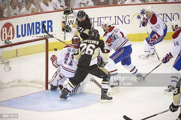 NHL Playoffs Pittsburgh Penguins Evgeni Malkin in action vs Montreal Canadiens goalie Jaroslav Halak Game 1 Pittsburgh PA 4/30/2010 CREDIT David E...