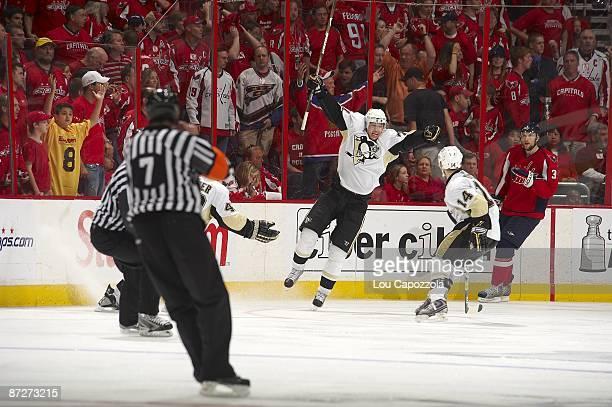 Pittsburgh Penguins Evgeni Malkin victorious after scoring goal in overtime vs Washington Capitals. Game 5 winning goal. Washington, DC 5/9/2009...