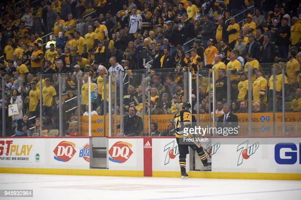 NHL Playoffs Rear view of Pittsburgh Penguins Evgeni Malkin heading to penalty box during game vs Philadelphia Flyers at PPG Paints Arena Game 1...