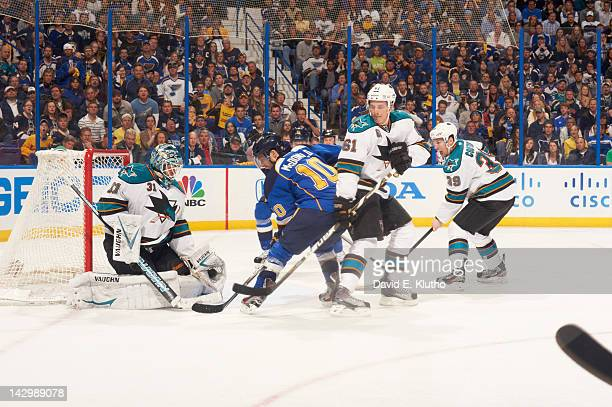 NHL Playoffs San Jose Sharks goalie Antti Niemi and Justin Braun in action vs St Louis Blues Andy McDonald at Scottrade Center Game 1 St Louis MO...