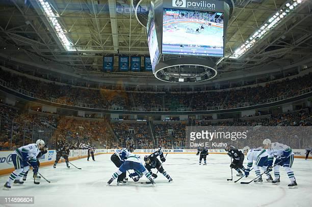 NHL Playoffs San Jose Sharks Joe Pavelski during face off vs Vancouver Canucks Ryan Kesler at HP Pavilion Game 3 San Jose CA CREDIT David E Klutho