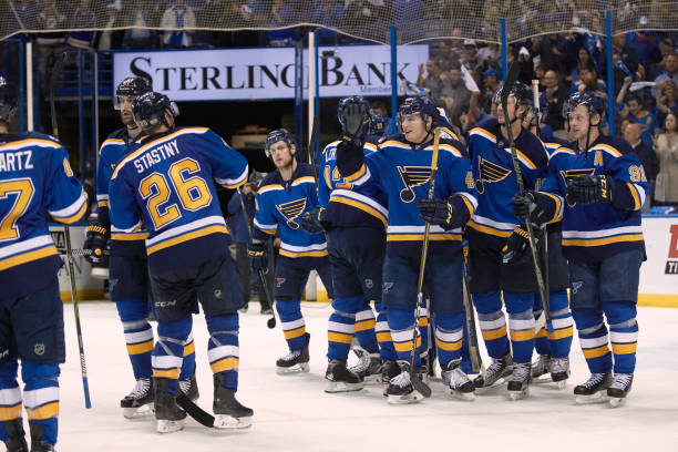 St Louis Blues Players Victorious On Ice After Winning Game Vs Nashville Predators At Scottrade