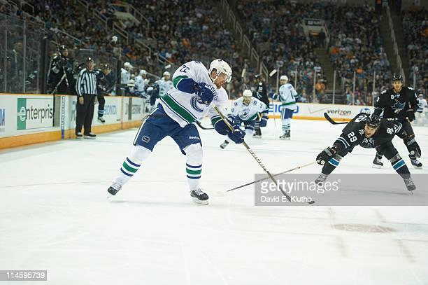 NHL Playoffs Vancouver Canucks Daniel Sedin in action passing vs San Jose Sharks at HP Pavilion Game 4 San Jose CA CREDIT David E Klutho
