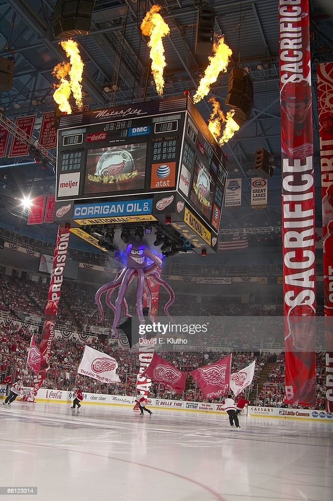 Chicago blackhawks v detroit red wings game two photos and images view of plastic octopus coming out of jumbotron scoreboard during chicago blackhawks vs detroit red wings voltagebd Images