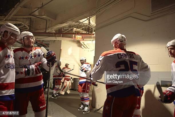 NHL Playoffs Washington Capitals Joel Ward and Jason Chimera in runway before game vs New York Rangers at Madison Square Garden Game 5 New York NY...