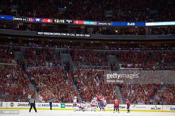 NHL Playoffs Washington Capitals Joel Ward victorious after scoring goal with Alex Ovechkin vs New York Rangers at Verizon Center Game 5 Washington...