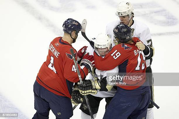 NHL Playoffs Washington Capitals John Erksine and Nicklas Backstrom in action scrum vs Pittsburgh Penguins Matt Cooke and Evgeni Malkin Game 5...