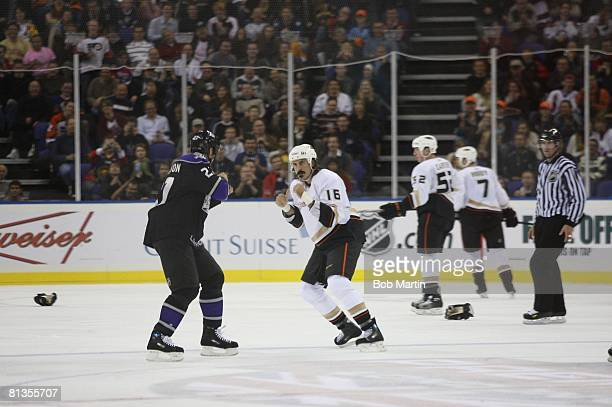 Hockey NHL Premiere Series Anaheim Ducks George Parros in action during fight vs Los Angeles Kings Scott Thornton Game 2 London England 9/30/2007